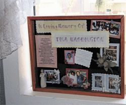 The bulletin board honoring Tina Washington at the day-care center where she worked.