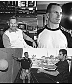 Top left: Ken Phelps, longtime pro and club-ball coach, is now the radio color commentator for the Diamondbacks. Top right: Mark Verstegen founded Athletes' Performance.  Above: Diamondback Matt Kata (right) works out with trainer Craig Friedman at Athletes' Performance in Tempe.