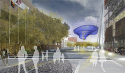 Artist&#039;s rendering of the as yet untitled Janet Echelman sculpture.