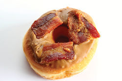 Maple bacon doughnut at Rainbow Donuts.