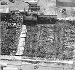 The remains of Central Garden&#039;s warehouse after the fire.