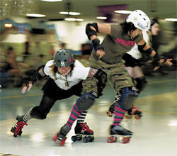 The furious females from all three of the Valley's roller derby leagues burn calories while cracking skulls.