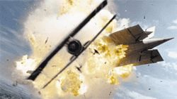 War is heck: A computer-generated plane and a computer-generated dirigible cross paths in Flyboys.