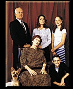 The Braswell family with Sparky and the deceased Granny  Dunlop.