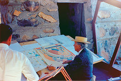 Frank Lloyd Wright at Taliesin West in 1955