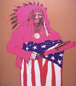 Last Indian with Flag by Fritz Scholder