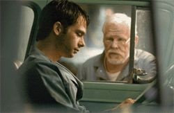 Reality -- what a concept: Scott Mechlowicz (left) seeks spiritual guidance from gas station attendant/philosopher Nick Nolte in Peaceful Warrior.