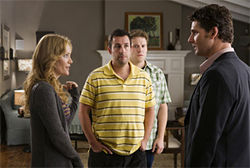Serious with a capital S: Leslie Mann, Adam Sander, Seth Rogen, and Eric Bana star in Judd Apatow's Funny People.
