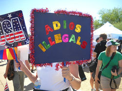 Anti-immigrant protesters gathered in downtown Phoenix.