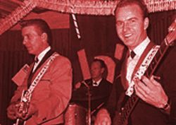 Young honky-tonk heroes: Waylon Jennings (far left) with drummer Ritchie Albright and bassist Paul Foster at JD's in Scottsdale, December 1964.