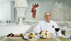 Flair for the dramatic: Asia de Cuba&#039;s executive chef, Donald Lemperle, presents some house specialties.