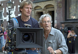 Director of photography Karl Walter Lindenlaub and director Paul Verhoeven on the set of Black Book