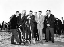 Unidentified Board of Regents members break ground on Greek Row in 1961.