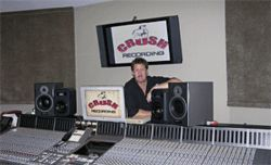 Wall of sound: Ryan Greene mans the console at Crush Recording.