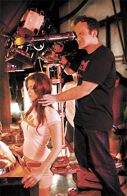 Quentin Tarantino and Vanessa Ferlito on the set of Death Proof, Tarantinos segment of Grindhouse.