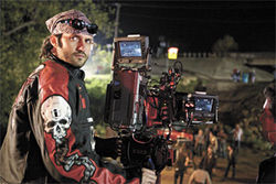 Robert Rodriguez on the set of Planet Terror, his segment of Grindhouse.
