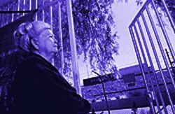 Helen Brock peers from behind a steel security gate at traffic on the Maricopa Freeway.