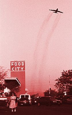 A jet soars over Food City, whose request for a liquor license has angered some residents.