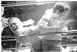 Little Nasty Boy puts an arm bar on Pitbull Patterson in Tucson two years ago.