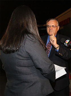 Arpaio snarls at Guadalupe Mayor Rebecca Jimenez.