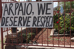From April 4, a sign demanding respect, hung at the César Chávez Memorial Garden in Guadalupe.
