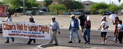 Texas border activist Jay Johnson-Castro (center, with cane) brings his Tucson-to-Phoenix Walk for Human Dignity to Guadalupe.