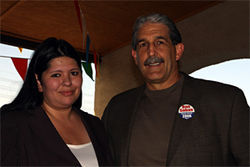 Guadalupe Mayor Rebecca Jimenez with Joe-foe and candidate for sheriff Dan Saban.
