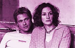 Don't look for any sparks from Brad Pitt and Julia Roberts in The Mexican. They seem afraid to even touch each other.
