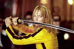 Sword play: Uma Thurman displays her savage side in Kill Bill: Volume 1.