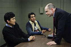 Dumb and dumber: John Cho and Kal Penn face The Man (Rob Corddry) in Harold & Kumar Escape From Guantanamo Bay.