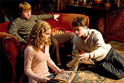 Spells trouble: Rupert Grint, Emma Watson, and Daniel Radcliffe star in the penultimate Potter flick, Harry Potter and the Half-Blood Prince.