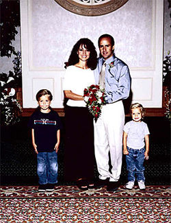 Doug and Faylene Grant with their two sons at their surprise July 2001 wedding in Las Vegas.