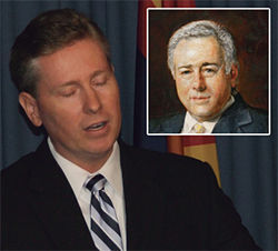 Andy Thomas and Dennis Wilenchik (inset oil painting): the county attorney and his cat's paw.