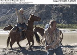 Dead men sometimes tell tales: Tommy Lee Jones and Barry Pepper star in The Three Burials of Melquiades Estrada.