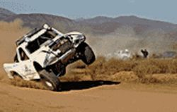  Waaaay off-road: A truck careens out of 