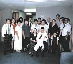 Ryan (far left) stands out at a family gathering at church in 2001 with a plaid-themed outfit.