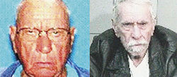 Richard Rodgers in an ID shot from 1987 and a police mug shot in 2009, after 22 years on the lam.