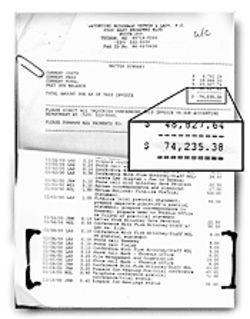 The O'Biers' final bill, which included charges for work done after the  attorneys removed themselves from the case.  Enlarge Photo