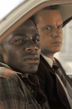 Cry freedom: Derek Luke (left, with Tim Robbins) turns vengeful after he is falsely beaten and imprisoned in Catch a Fire.
