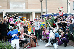 The Epic Superhero Battle ends with a group shot near the Borders at Scottsdale Fashion Square. The event was organized by Improv AZ and Arizona Cacophony — both groups dedicated to throwing wacky events and flash mobs around town.
