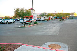 The parking lot at the Arizona Department of Economic Security office in Peoria, where Falah Almaleki ran over his daughter and Amal Khalaf.