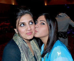 Noor (left) with a friend, ASU student Sana Ameen.