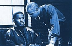 Morse code: A U.S. Treasury investigator (David Morse, right) intimidates Alvin Sanders (Jamie Foxx) into becoming human bait.