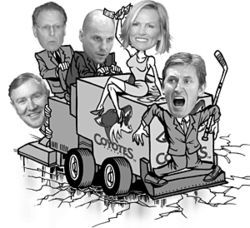 Clockwise from left: Jerry Moyes, Steve Ellman, Rick  Tocchet, Janet Jones and Wayne Gretzky.