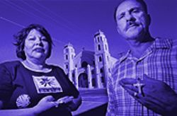 Sara Perez, left, and her husband Juan stand outside  Immaculate Heart, the church she has been banned  from entering.