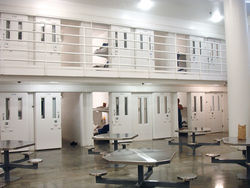 The cell block where immigrants live at the county jail.