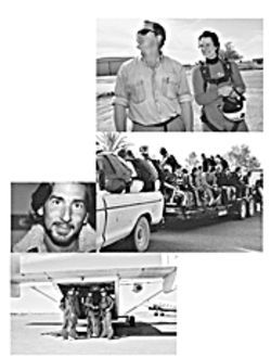 Clockwise from top: Bryan Burke and Betsy Barnhouse; a load of skydivers getting  shuttled to the runway; the Russian national team; skydiving ace Omar Algehelan.
