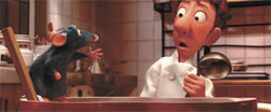 Feast for the senses: Remy the rat and Linguini struggle to succeed in Ratatouille.