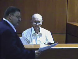 Greg Riebesehl questions his client, Jack Bessinger, during the custody battle.