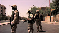 U.S. soldiers patrol the streets of Baghdad in Iraq in Fragments.